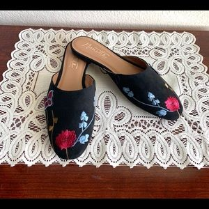 Nanette Lenore Ellie Black Embroidered Mules